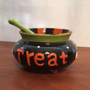 TRICK OR TREAT Halloween Serving Dish Bowl Spoon